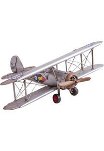 Enfeite Em Ferro Avião Fighter 11X34,5Cm Prata