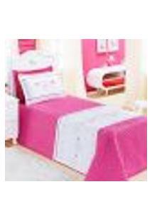 Jogo Cobre Leito Solteiro Rosa Pink Feminino Matelado 3 Peças