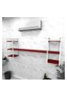 Estante Industrial Escritório Aço Cor Branco 180X30X68Cm Cxlxa Cor Mdf Vermelho Modelo Ind26Vres
