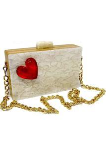 Bolsa Clutch Heart Pérola