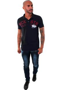 Camisa Polo Rockstar Cavalo Jogo Preto