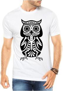 Camiseta Criativa Urbana Caveira Coruja Mexicana - Masculino-Branco