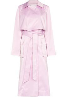 Tibi Trench Coat Com Cinto - Rosa