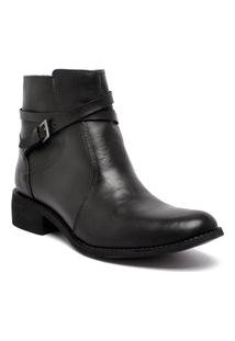 Bota Ankle Boot Via Paula Couro 4014-0124 Feminino Preto Via Paula Preto