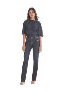 Calça Maria.Valentina Straight M. Helena Cós Intermediário Essencial Jeans