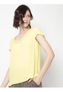 Blusa Com Renda- Amarela- Milioremiliore