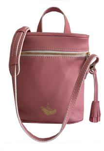 Bolsa Line Store Leather Cantil Couro Rosa.