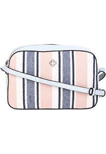 Bolsa Capodarte Lona Rústica Listrada Relax Feminina - Feminino-Azul+Rosa