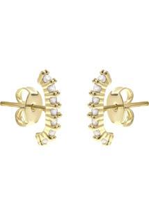 Brinco Piuka Ear Hook Lully Zircônia Cristal Folheado A Ouro 18K - Kanui