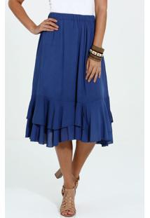 5855a3b76 R$ 79,95. Marisa Saia Loma Textura Azul Midi Da Moda Babado ...