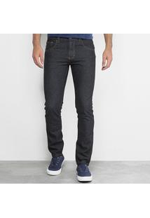 Calça Jeans Slim Zamany Lavagem Tradicional Masculina - Masculino-Preto