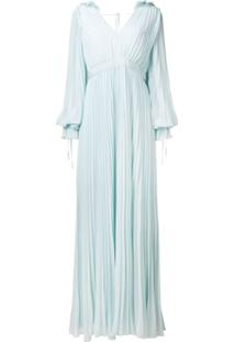 Self-Portrait Pleated Evening Gown - Azul