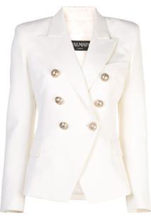 Balmain Blazer Com Botões Dourados - Branco