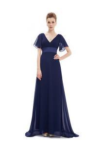 41b8133b05 ... Vestido Longo Elegante Decote V Manga Curta - Azul Escuro
