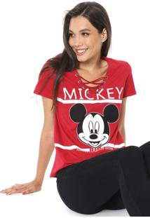 Blusa Cativa Disney Lace Up Mickey Vermelha
