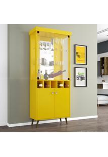 Cristaleira Adega 4 Portas Com Espaço Para 5 Garrafas Com Pés Palito Monza Ii Amarelo - Móveis Bechara