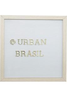 Quadro Decorativo Urban Branco E Dourado 30,5X30,5X2 Cm