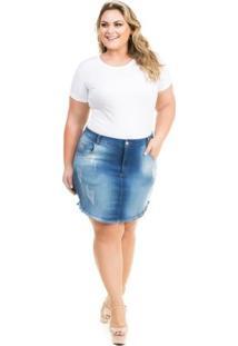 Saia Confidencial Extra Plus Size Jeans Curta Summer Feminina - Feminino-Azul
