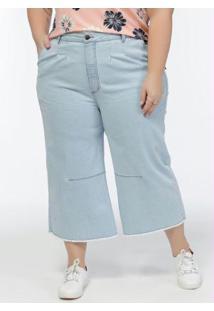 Calça Jeans Plus Size Azul Claro Cintura Alta