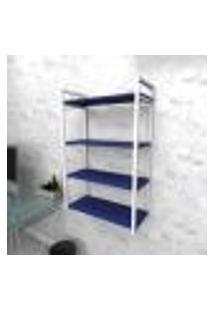 Estante Industrial Escritório Aço Cor Branco 60X30X98Cm (C)X(L)X(A) Cor Mdf Azul Modelo Ind48Azes