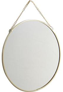 Espelho De Parede Em Metal Dourado 20Cm
