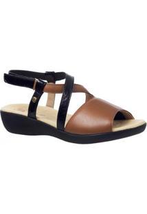 Sandália Joanete Em Couro Techprene Doctor Shoes - Feminino-Caramelo