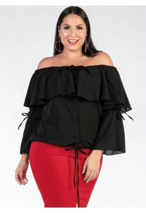 Blusa Plus Size Ciganinha Preta Com Babados