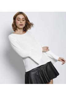 Blusa Texturizada Com Fendas - Off White - Moisellemoisele