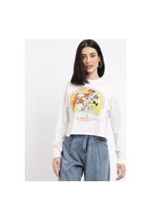 Blusa Feminina Looney Tunes Manga Longa Gola Alta Branca
