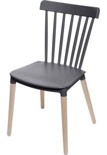 Cadeira Jana Polipropileno Cor Preto Base Madeira - 53521 - Sun House