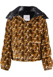 Moncler Floral Print Padded Jacket - Marrom