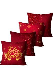Kit Com 4 Capas Para Almofadas Premium Cetim Mdecore Natal Feliz Natal Vermelha 45X45Cm