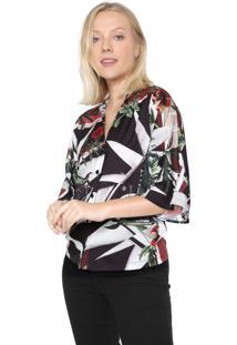 Camisa Forum Floral Preta/Off-White