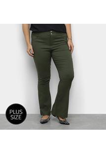 Calça Flare Heli Plus Size Feminina - Feminino-Verde