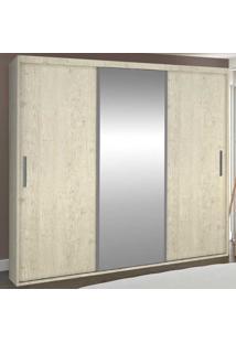Guarda-Roupa Casal 3 Portas Com 1 Espelho 100% Mdf 1973E1 Marfim Areia - Foscarini