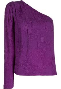 Stella Mccartney Blusa Com Brocado Floral - Roxo