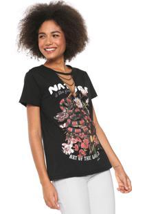 Camiseta Dimy Choker Correntes Preta