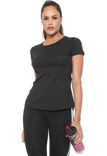 Camiseta Alto Giro Skin Fit Recortes Preta