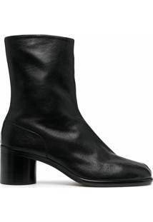 Maison Margiela Ankle Boot Tabi De Couro Com Salto 30Mm - Preto