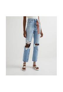 Calça Reta Jeans Liso Com Puídos E Lenço Estampado