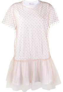 Redvalentino Vestido Com Recortes De Tule - Branco