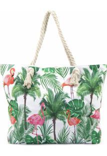 Bolsa De Praia Bijoulux Em Lona Estampa Folhas E Flamingos