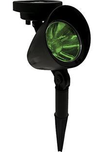 Luminária Solar Spot Refletor Led Verde Com Espeto De Jardim