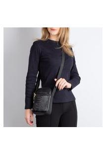 Bolsa Shoulder Bag De Couro Croco Pietra Preto