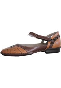 Sapato J. Gean Retrô Vintage Sapatilha Couro Fascite Plantar Caramelo