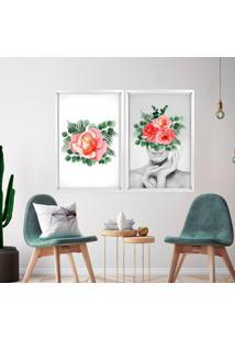 Quadro Com Moldura Chanfrada Floral Madeira Clara - Grande