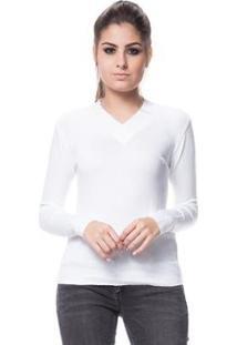 Blusa Logan Tricot Básica Linha E Lycra - Feminino-Branco