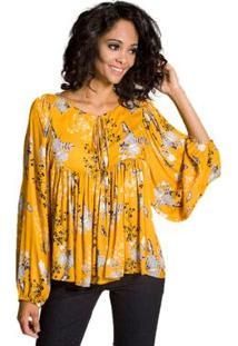 Bata Floral Viscose Colcci Feminina - Feminino-Amarelo