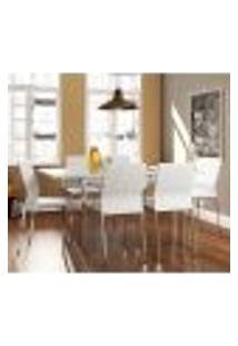Conjunto De Mesa Com 6 Cadeiras Contemporânea Branco E Cromado