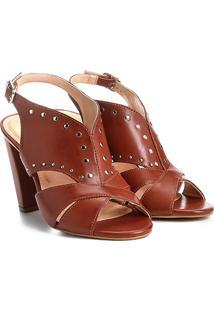 Sandália Shoestock Salto Grosso Tachas Feminina - Feminino-Caramelo